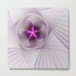 Graphic Design, Fractal Art Pattern With Pink Metal Print