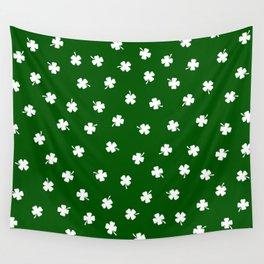 White Shamrocks Green Background Wall Tapestry