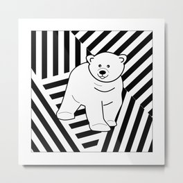 Polar bear on a striped background Metal Print