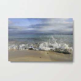 White Water Waves Crashing on Winter Beach Metal Print