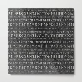 Elder Futhark Pattern on wooden texture Metal Print
