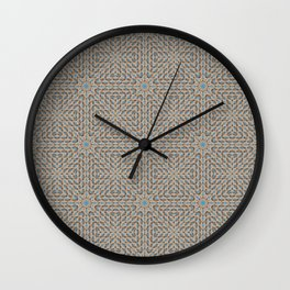 Beige and Blue Mosaic Pattern Wall Clock