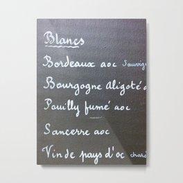 Carte de Vins Blancs Metal Print