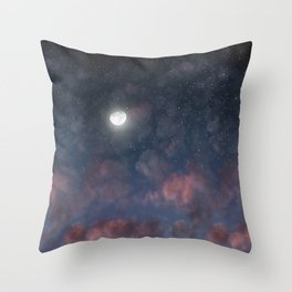 Glowing Moon on the night sky through pink clouds Throw Pillow