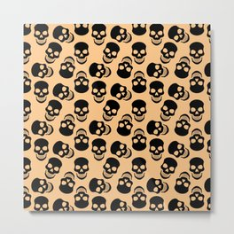 Black Skulls on Orange Metal Print