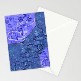 Blue Lapis & Violet Blue Cat Outline Tile Stationery Cards