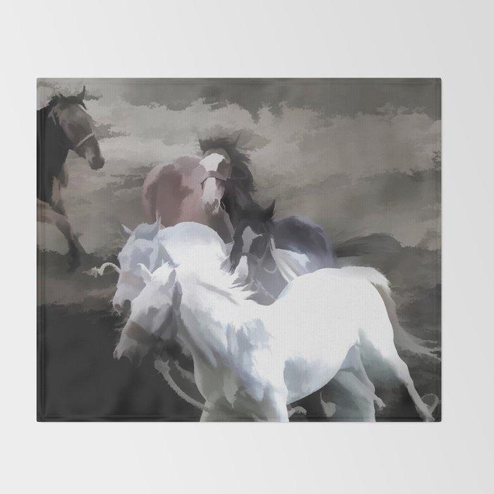 Breaking Free  -  Wild Horses Throw Blanket