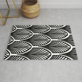 Art deco,Black and white pattern, vintage,nouveau,chic and elegant, belle époque,fan pattern Rug