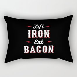 Lift Iron Eat Bacon Rectangular Pillow