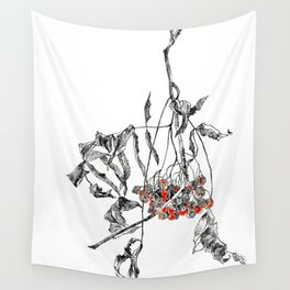 rowan branch with dried leaves and berries Wall Tapestry