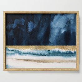 Navy Blue, Gold And White Abstract Watercolor Art Serving Tray