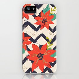 Christmas Poinsettias and Chevron Zigzags iPhone Case