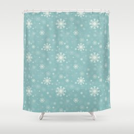 blue pattern with snowflaks Shower Curtain