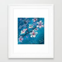 cherry blossoms Framed Art Prints featuring Cherry Blossoms by Spinning Daydreams