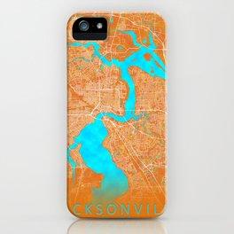Jacksonville, FL, USA, Gold, Blue, City, Map iPhone Case