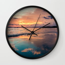 Beautiful Summer Beach Sunset Reflection Wall Clock