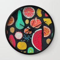 fruit Wall Clocks featuring Fruit by Mouni Feddag