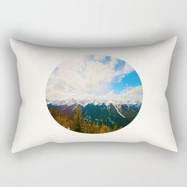 Mid Century Modern Round Circle Photo Snow Covered Mountains Meet Autumn Rectangular Pillow