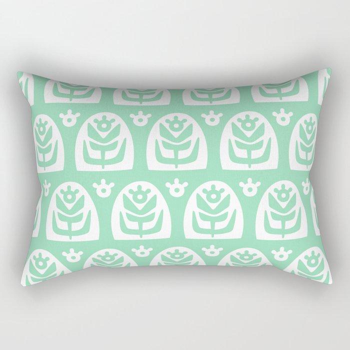 Mid Century Modern Sunflower Mint Green Rectangular Pillow