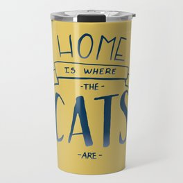 home is where the cats are - yellow and blue ombre Travel Mug