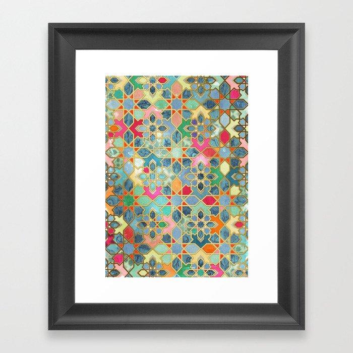 Gilt & Glory - Colorful Moroccan Mosaic Gerahmter Kunstdruck