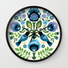Polish Folk Birds Wall Clock