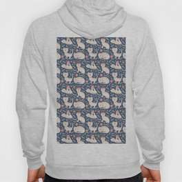 Cute pink brown blue hand painted floral cats Hoody