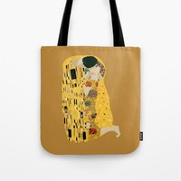 gustav klimt Tote Bags featuring klimt by Live It Up