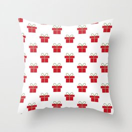 Christmas gifts - red and white Throw Pillow