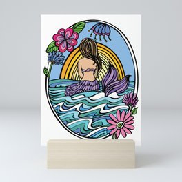 Sunrise Mermaid Girl Mini Art Print