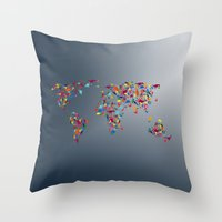map of the world Throw Pillows featuring WORLD MAP  by mark ashkenazi