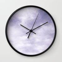 water colour Wall Clocks featuring WATER COLOUR CLOUDS by Anna Eve