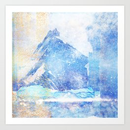 Blue Ice Mountains :: Fine Art Collage Art Print