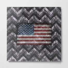 Periwinkle Purple Digital Camo Chevrons with American Flag Metal Print