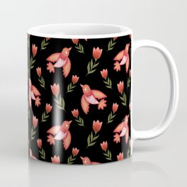 Pretty cute little wild canary birds, red blooming garden tulips, feminine nature flowers black pattern. Hello spring. Gift ideas for tulip lovers. Botanical floral animal artistic design. Coffee Mug
