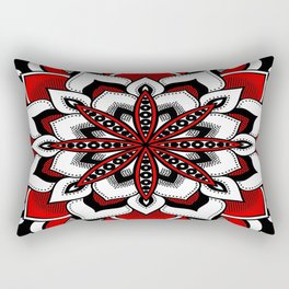 Mandala : Red Flower Mandala Rectangular Pillow