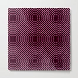 Black and Fuchsia Purple Polka Dots Metal Print