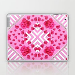 ABSTRACT PINK ROSES and WHITE COLOR PATTERNS Laptop & iPad Skin