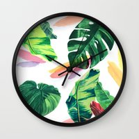 palm Wall Clocks featuring PALM by Ellie Cryer