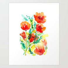 Orange Flowers Watercolor Art Print