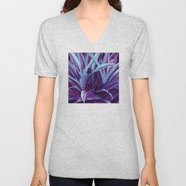 Exotic, Lush Purple and Sky-Blue Leaves Unisex V-Neck