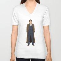 david tennant V-neck T-shirts featuring David Tennant as Dr Who by liamgrantfoto