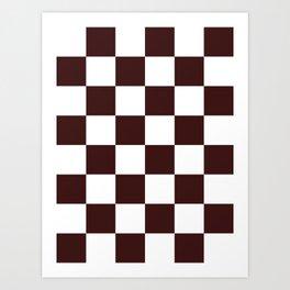 Large Checkered - White and Dark Sienna Brown Art Print