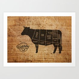 Cow Butcher Chart(woodgrain) Art Print