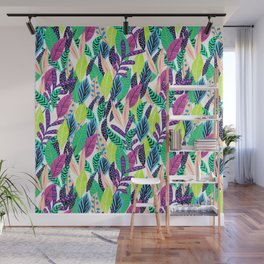 Cute pattern Whimsical Colorful Leaves Wall Mural