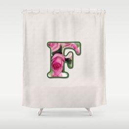 Letter F Rose Monogram Shower Curtain