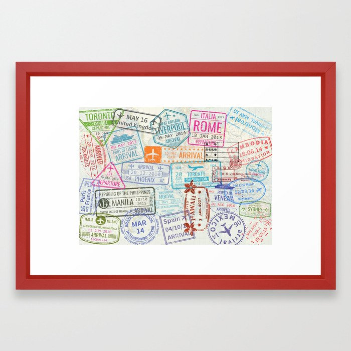 Vintage World Map with Passport Stamps Framed Art Print by ...