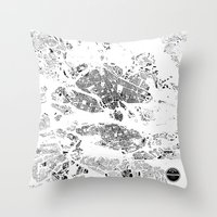 stockholm Throw Pillows featuring STOCKHOLM by Maps Factory