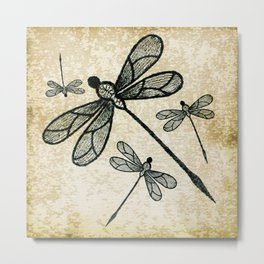 Dragonflies on tan texture Metal Print