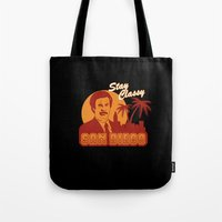 will ferrell Tote Bags featuring Stay classy San Diego the anchorman by Buby87